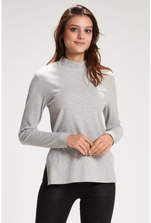 Vena Julia Balıkçı Sweatshirt Gri Melanj