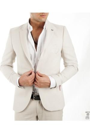 DeepSEA Bej Önü Pensli Tek Yırtmaçlı Örgü Desenli Blazer Erkek Ceket 1701755-021