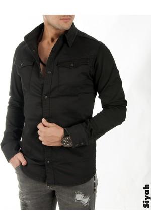 DeepSEA Siyah Yeni Sezon Kaplamalı Kumaş Likralı Erkek Kot Gömlek 1706288-002