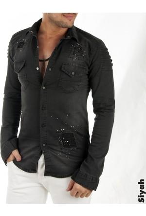 Deepsea Siyah Püskürtme Desenli Önü Yırtık Çıtçıtlı Erkek Kot Gömlek 1705001