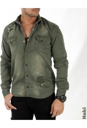 Deepsea Haki Püskürtme Desenli Önü Yırtık Çıtçıtlı Erkek Kot Gömlek 1705001