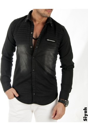 Deepsea Siyah Omuz Ve Yakası Boncuklu Önü Pileli Oval Kesim Erkek Kot Gömlek 1705004