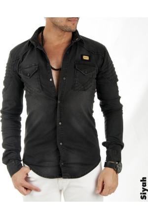 Deepsea Siyah Eteği Oval Kesim Çift Cepli Çıtçıtlı Erkek Kot Gömlek 1705009