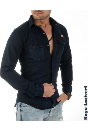 Deepsea Koyu Lacivert Çift Çepli Çıtçıtlı Arkası Baskılı Erkek Kot Gömlek 1705012