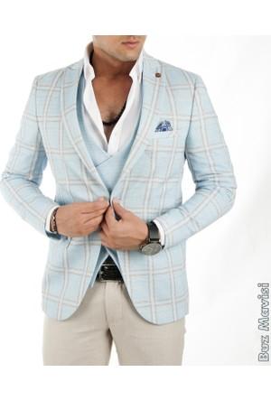 Deepsea Kare Desenli İtalyan Kesim Erkek Ceket-Yelek Takım 1760102