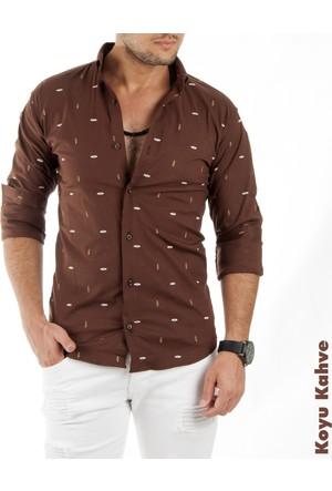 Deepsea Koyu Kahve Desenli Uzun Kollu Erkek Gömlek 1701016