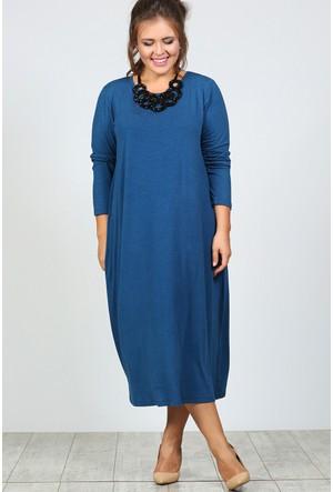 Trend Plus Büyük Beden Uzun Kol Salaş Elbise
