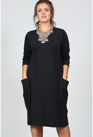 Trend Plus Büyük Beden Cepli Uzun Kol Salaş Elbise