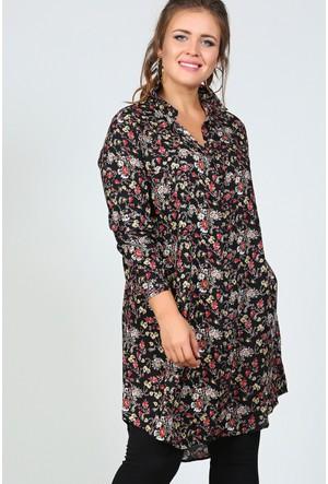 Trend Plus Büyük Beden Çıtır Desen Gömlek Tunik