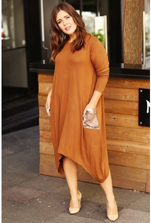 Trend Plus Büyük Beden Çift Cep Pullu Elbise