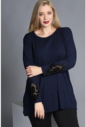 Trend Plus Büyük Beden Kolu Güpürlü Bluz