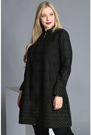 Trend Plus Büyük Beden Fermuarlı Etek Kol Ucu Desenli Uzun Ceket