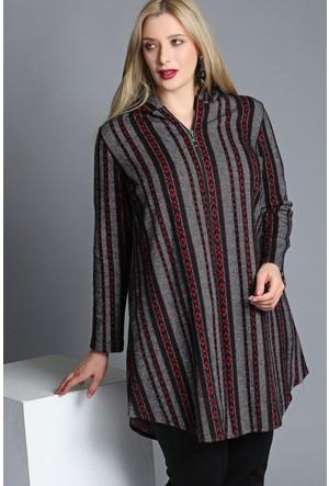 Trend Plus Büyük Beden Kilim Desen Kapüşonlu Fermuarlı Ceket