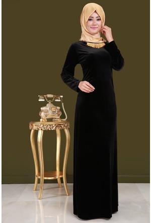 Burucline Çubuk Yaka Uzun Battal Elbise Siyah 17-2B276011