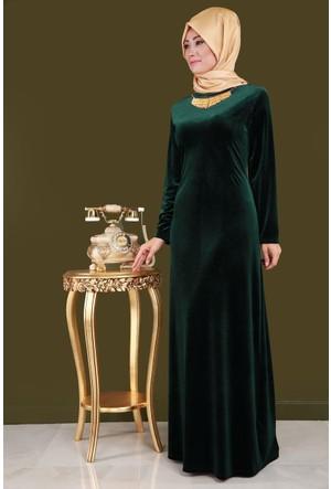 Burucline Çubuk Yaka Uzun Battal Elbise Koyu Yeşil 17-2B276011