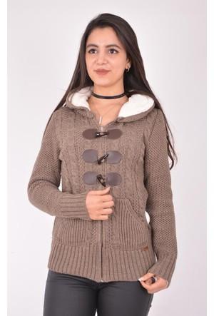 Burucline Kadın Çoban Düğmeli Hırka Vizon 17-2B654016