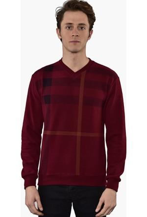 Westside V Yaka Selanik Sweatshirt 18K6006 Bordo