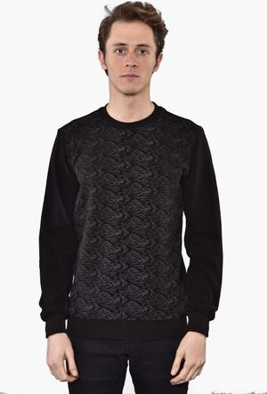 Westside Şal Desenli Selanik Sweatshirt 6010 Siyah