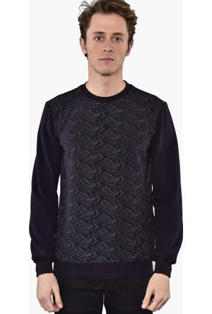 Westside Şal Desenli Selanik Sweatshirt 6010 Lacivert