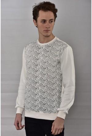 Westside Şal Desenli Selanik Sweatshirt 6010 Ekru