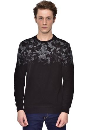 Westside Yarım Baskılı Selanik Sweatshirt 18K6011 Siyah