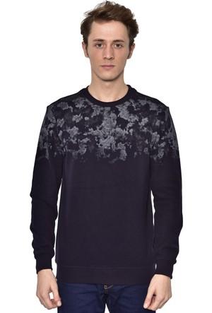 Westside Yarım Baskılı Selanik Sweatshirt 18K6011 Lacivert