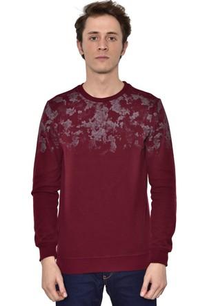Westside Yarım Baskılı Selanik Sweatshirt 18K6011 Bordo