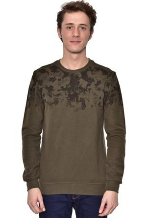 Westside Yarım Baskılı Selanik Sweatshirt 18K6011 Haki