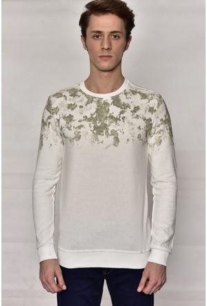 Westside Yarım Baskılı Selanik Sweatshirt 18K6011 Ekru