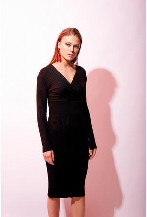Eka Önü Arkası Kruvaze Fitilli Triko Elbise
