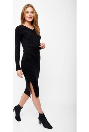Eka V Yaka Fitilli Uzun Triko Elbise