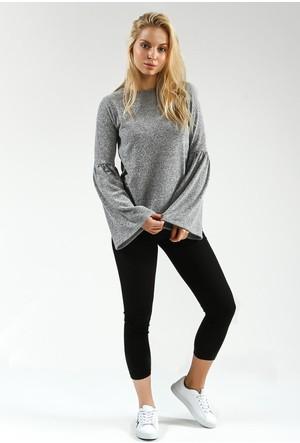 Collezione Kadın Sweatshirt Uzun Kol Sponya Gri Melanj