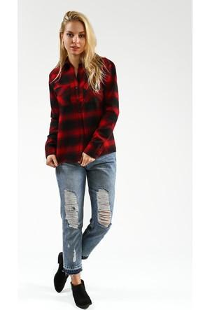 Collezione Kadın Gömlek Uzun Kol Ritimm Kırmızı