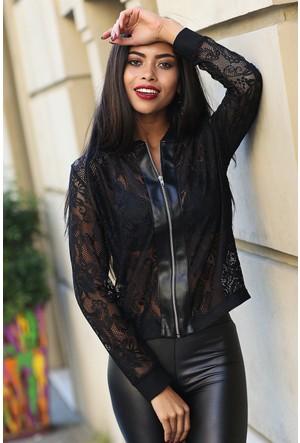 Womenice Fermuarlı Dantel Ceket Siyah