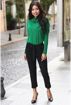 Womenice Kuşaklı Havuç Pantolon Siyah