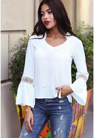Womenice Güpür Detaylı Bluz Ekru