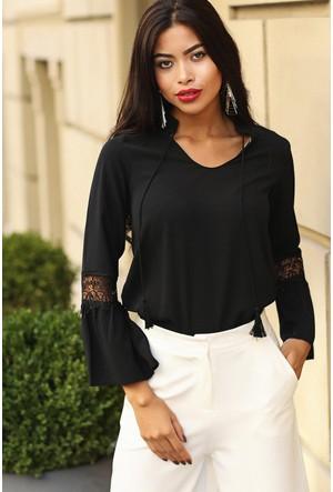 Womenice Güpür Detaylı Bluz Siyah