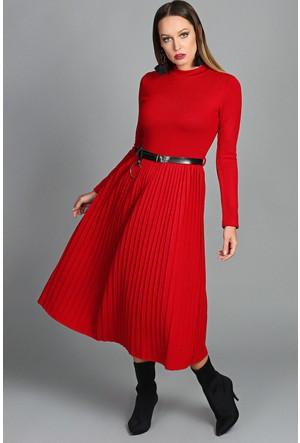 Womenice Eteği Pliseli Bisiklet Yaka Elbise Kırmızı