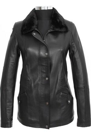 Gön Deri Kadın Ceket Siyah D4520