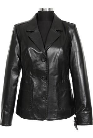 Gön Deri Kadın Ceket Siyah D4522