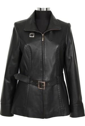 Gön Deri Kadın Ceket Siyah D4529