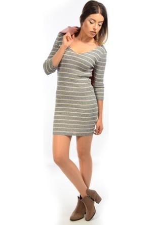 Degaje Kadın Çizgili Triko Elbise