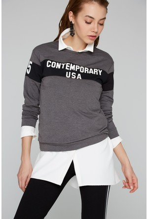 FullaModa Baskılı Sweatshirt 18KTURKUVAZ0009