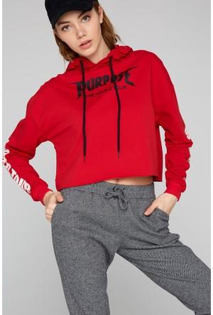 FullaModa 18KNOA0003 Kadın Baskılı Kapüşonlu Sweatshirt