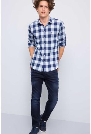 U.S. Polo Assn. Erkek Pelle Gömlek Mavi