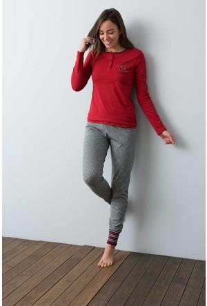 U.S. Polo Assn. Kadın 15935P Pijama Kırmızı