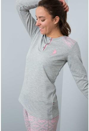 U.S. Polo Assn. Kadın 15947P Pijama Gri Melanj
