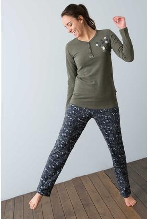 U.S. Polo Assn. Kadın 15950P Pijama Yeşil