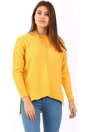 Zdn Jeans Kadın Sarı Triko Kazak T1401