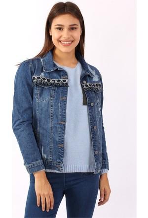 Zdn Jeans Kadın Etnik Püsküllü Mavi Denim Ceket M11